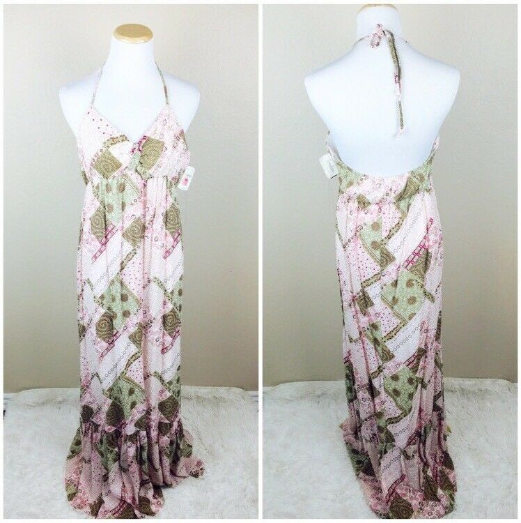 NWT Akiko Women's Floral Patch Maxi Halter Dress S M Boho Empire Festival