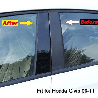 Black Pillar Posts Fit For Honda Civic 06 11 4dr 6pc Set Door Trim Cover Kit Ebay