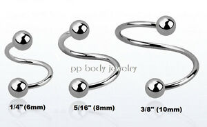 """5//16/"""" 1PC 20G~1//4/"""" 3//8/"""" Steel Spiral Twisters Nose Ear Lip Cartilage Tragus"""