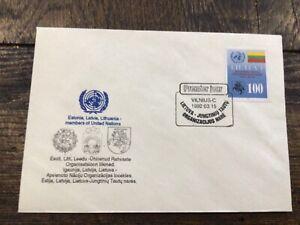 Vintage Cover,VILNIUS FDC,1992, Estonia, Latvia & Lithuania, #496 UN Members