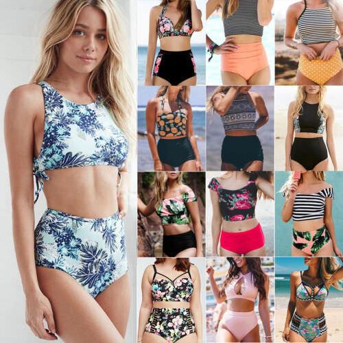 Women High Waisted Bikini Set Push Up Padded Swimsuit Beachwear Swimwear Bathing