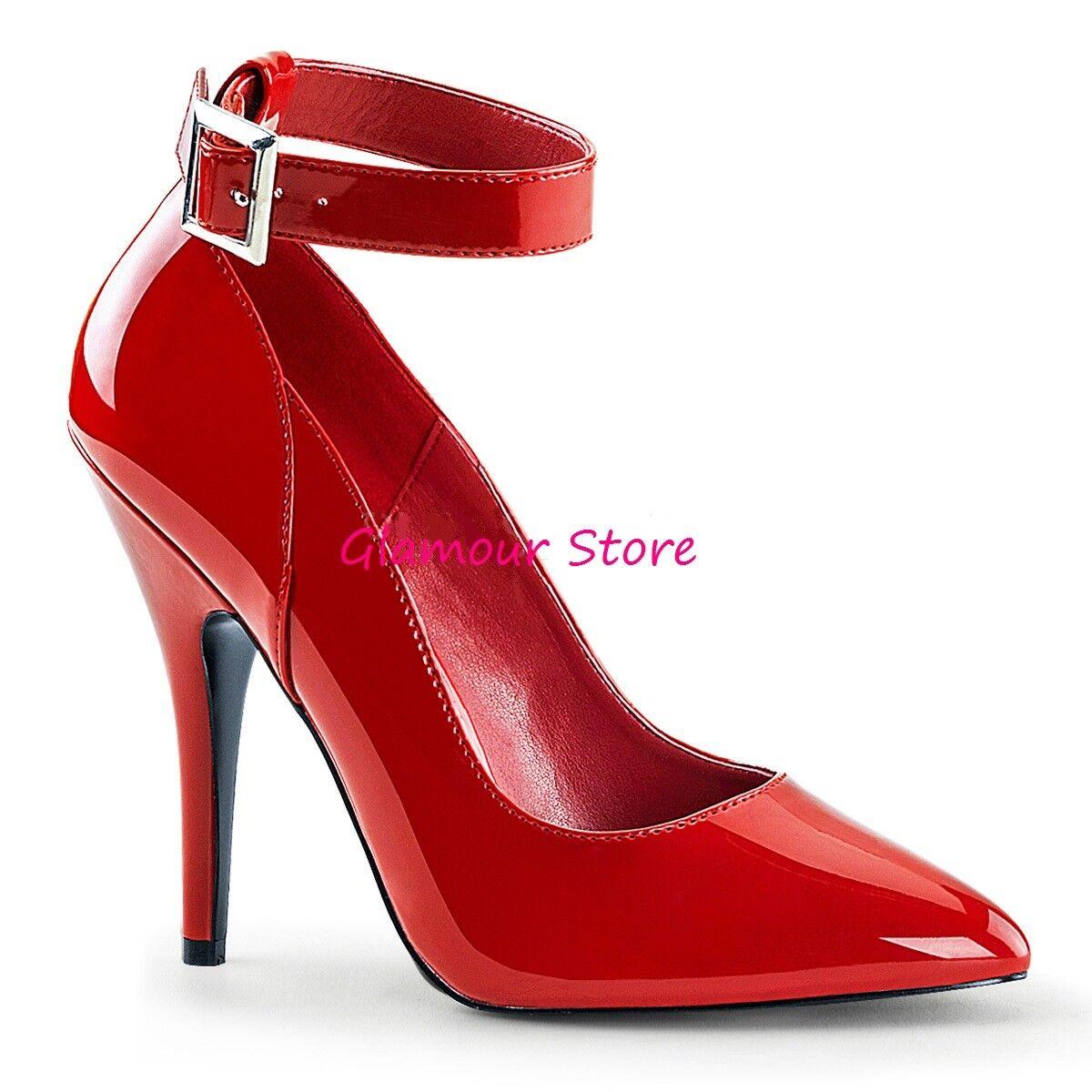 Sexy DECOLTE tacco 13 al ROSSO LUCIDO dal 35 al 13 46 cinturino scarpe fashion GLAMOUR 63e884
