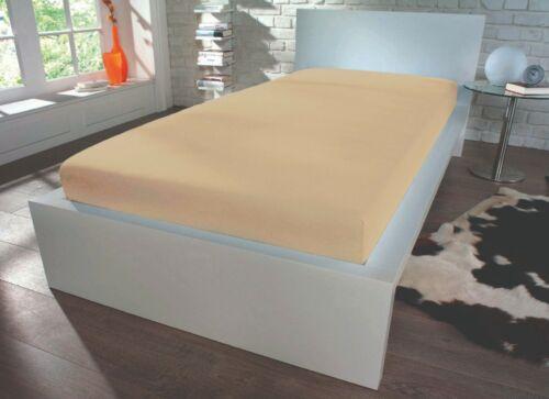 Jersey Spannbetttuch Spannbettlaken 160x200 20 cm Steghöhe creme beige blau