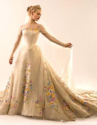 New A Line Cinderella Wedding Dresses Long Sleeves Bridal Gowns Custom Size 4 26 Ebay