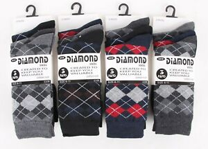 4b0f46db3 Details about 6Or12 Pairs Mens Argyle Socks Check Diamond Suit Golf Cotton  Rich Adults6-11 Lot