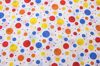 "Sheer Polka Dot Cotton Fabric 2 1/2 Yds x 44"" Wide White Red Blue Orange Yellow"