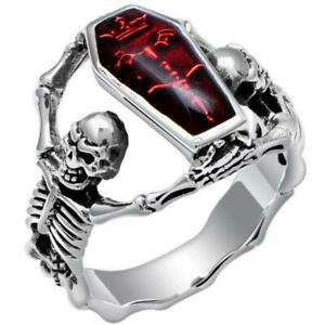 881c70bb316b6 Details about Fashion Men Stainless Steel Silver Double Skull Punk Biker  Finger Rings Jewelry