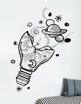 """Details about  /NEW 24""""x16"""" Light Bulb w//Planets Stars Galaxy Busting Out Black Vinyl Wall Decal"""