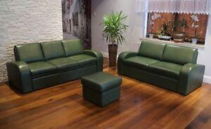 Grün Echtleder Sofagarnitur 325 Sofa Couch Hocker Echt Leder