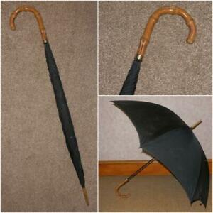 Antique Gents Gp Kendall Black Canopy Umbrella With Wangy Bamboo Crook Handle Moderate Kosten