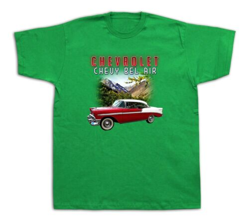 Mens Tee shirts T-shirt print 1956 Chevrolet Bel Air vintage classic hotrod car