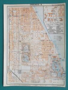 CHICAGO-amp-University-of-Illinois-Plan-1909-MAP-Baedeker-6-x-8-034-15-x-20-cm