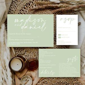 Personalised WEDDING INVITATIONS Sage Green Modern Natural Minimal Block PK 10