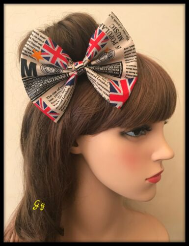 Union Jack Flag Hair Bow Hairband Headband Black White Fabric Newspaper Dress