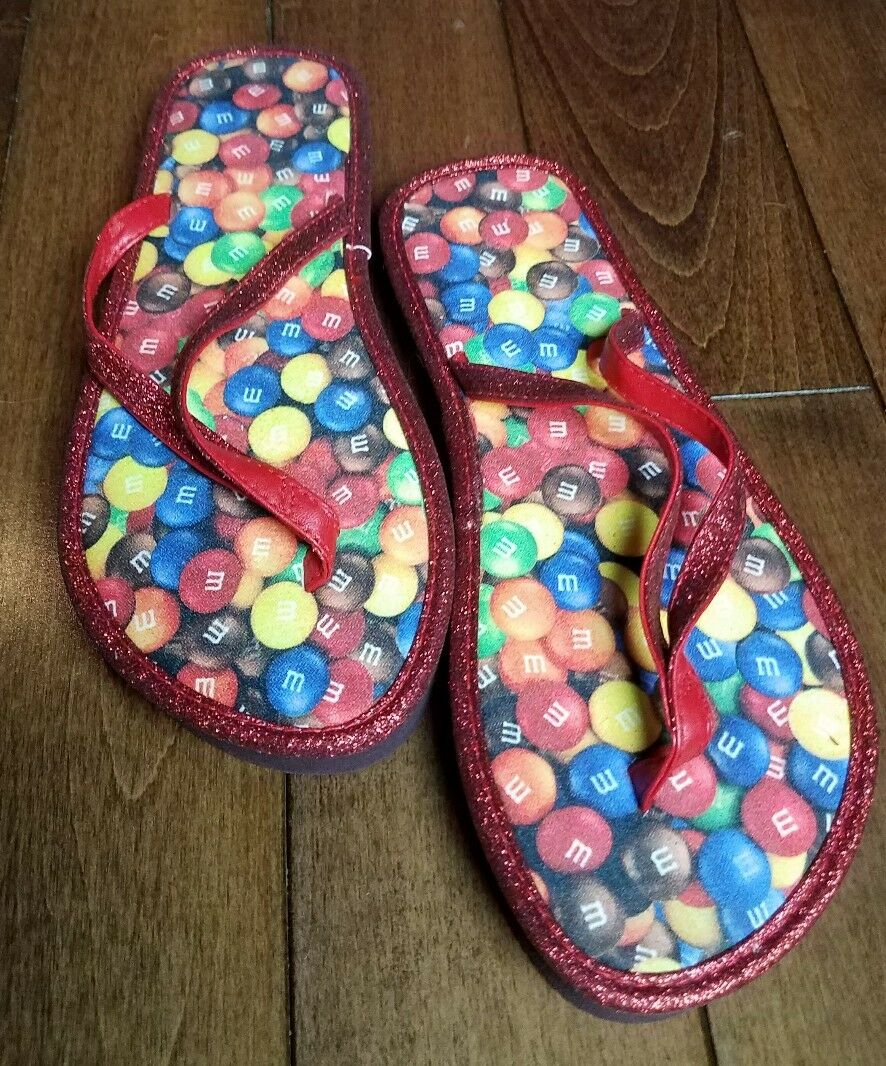 Novelty Ladies Red Womens M&M's Chocolate Candy Red Ladies Sparkle Glitter Flip Flops sz 7 afbac8