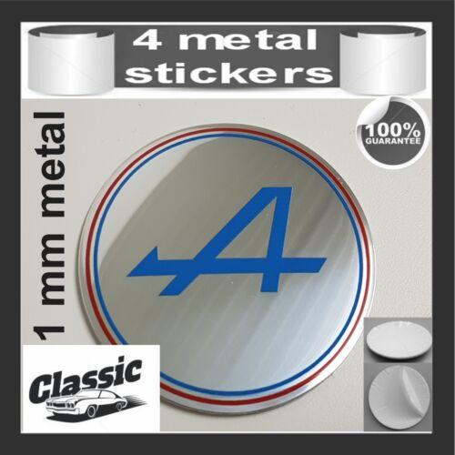 METAL STICKERS WHEELS CENTER CAPS Centro LLantas 4pcs Classic RENAULT ALPINE 12