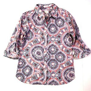 Chico's kaleidoscope geometric print no-iron button down shirt size 0 xs 4