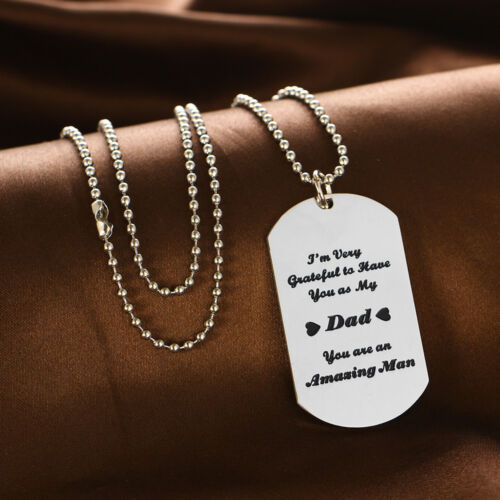 Stainless Steel Necklaces Dog Tag Pendant Beads Chain Jewelry Fathers Day Gifts