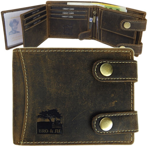 Classic BRO/&SIS Portemonnaie Geldbörse echtes Büffelleder Querformat Antikbraun