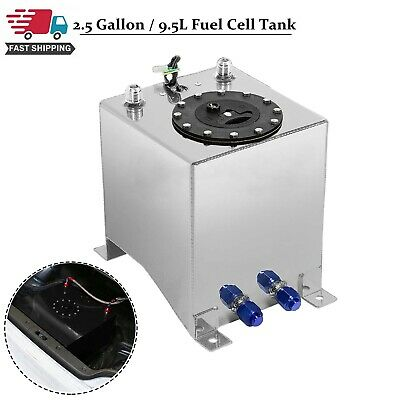 5 Gallon 19 Liter Racing Drift Fuel Cell Tank Polished Aluminum W// Level Sender