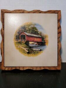 Vintage-1980s-Covered-Bridge-Wood-Frame-Ceramic-Tile-Trivet-Hotpad-Wall-Hanging