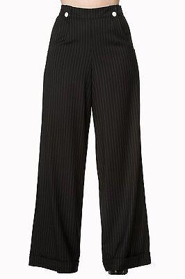 Banned Sweet Revenge Pinstripe 1940s Trousers Black Slacks 1950s Vintage New