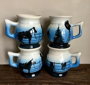 4-Vintage-Pottery-Mugs-Running-Horse-Mustang-Blue-Black-Western-Ranch-Coffee