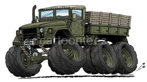 6X6 Military Transport Cartoon Tshirt  #0573 GA muscle car automotive art