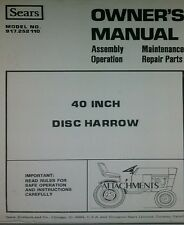 Sears Suburban 3 Point 40 Disc Harrow Implement Garden Tractor Owners Manual