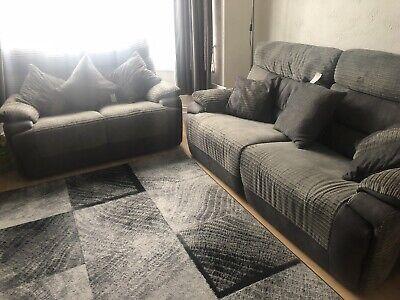 Lord Grey Dark Grey Manual Reclining 3 2 Seater Sofa Ebay