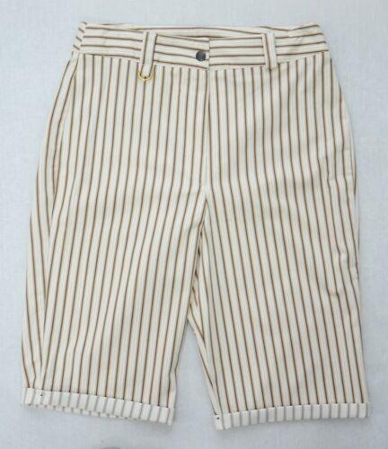 Ladies nuova crema marrone Pin Stripe Long Alzare Pantaloncini Taglia 10 12 14 16 18