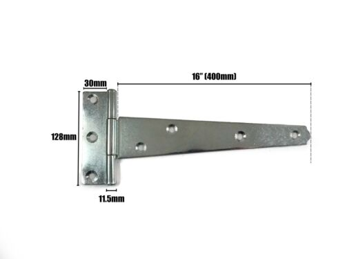 """2x Tee Hinges 1 Pair 10 14 16 18 24/"""" Shed Gate Door w// Fixing Screws Galvanised"""