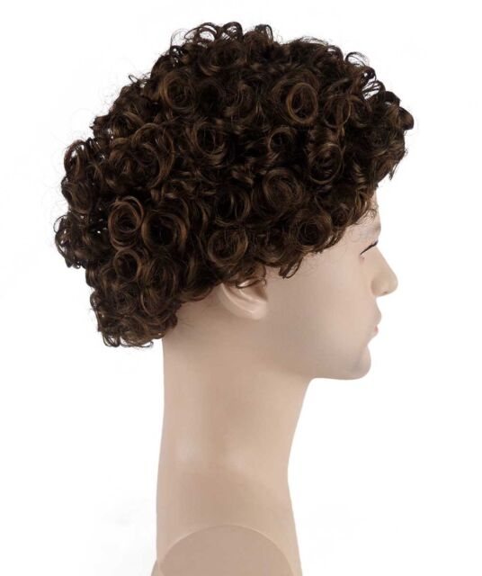 Adult Men Brown Wave Curly Afro Jumbo Wig Costume Halloween Party Cosplay HM-550