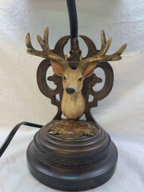 Cabin Lodge Deer Head Buck Antler Lamp, Rustic, Woodtone Dark Rich Browns