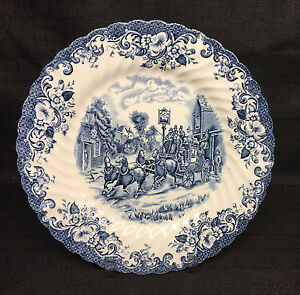 Johnson-Bros-Coaching-Scenes-Blue-9-7-8-034-Dinner-Plate-England