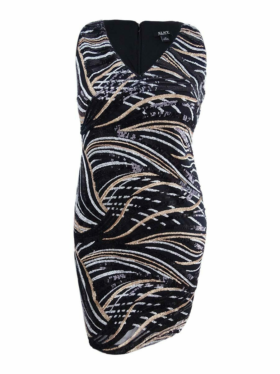 SL Fashions Women's Multicolor Sequined Sheath Dress