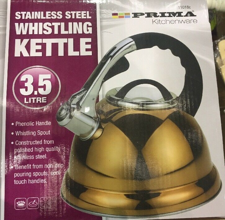 Stainless Steel Whistling 3.5L gold Kettle Prima Indoor Outdoor Champing Kettle
