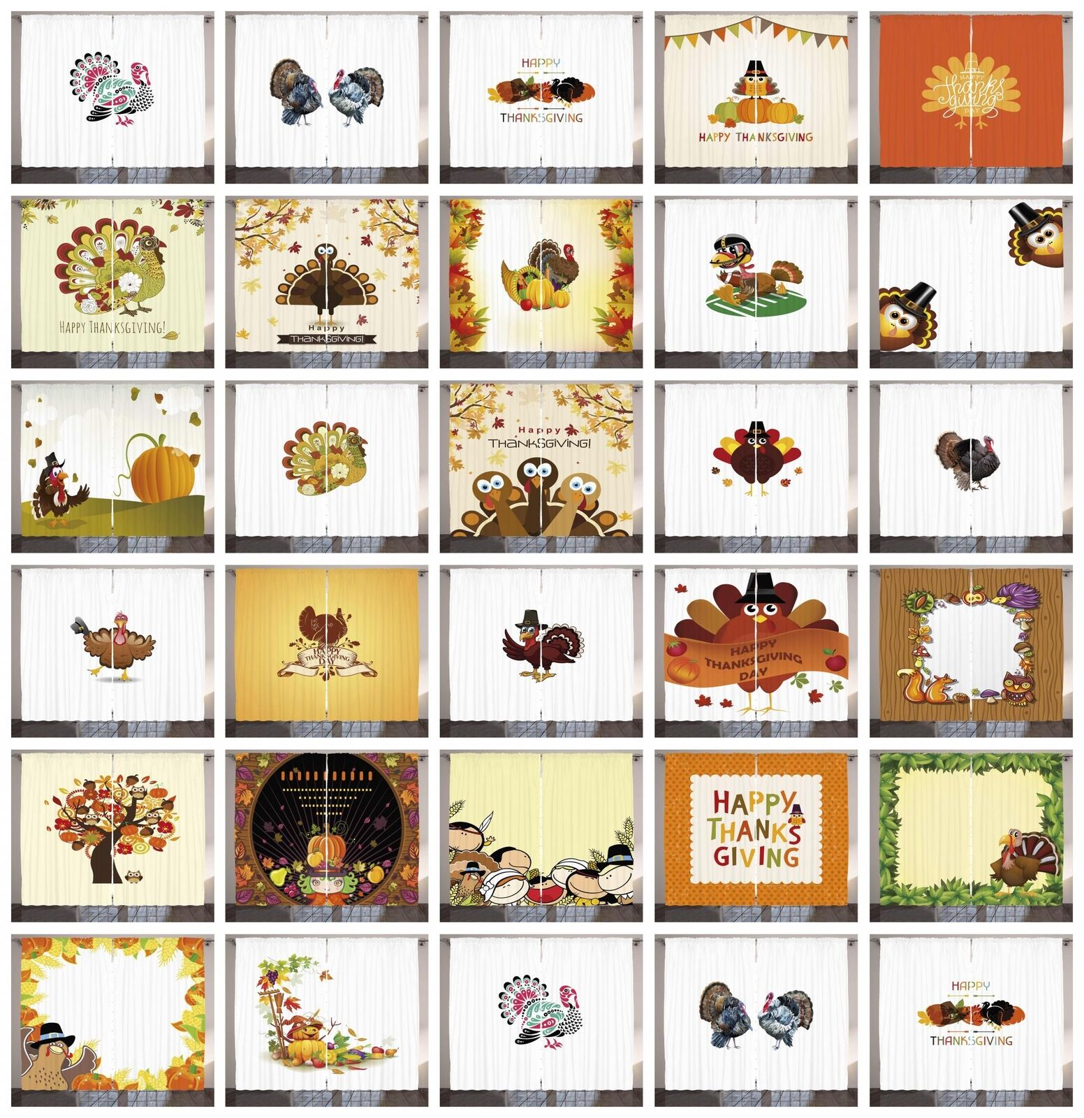 Cortinas de acción de gracias panel 2 Set para Decoración 5 Tamaños Disponibles Ventana Cortinas