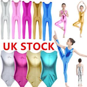 UK Girls Kids Dance Leotard Gymnastics Bodysuit Ballet Dancewear Jumpsuit Outfit