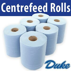 "2 PLY BLUE ROLLS EMBOSSED CENTRE FEED PAPER WIPE TOWEL TISSUE "" LOW PRICE"""