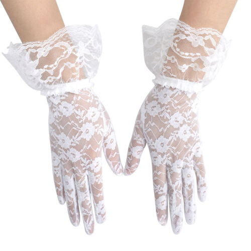 Women/'s Summer Floral Lace Beauty Gloves Full Finger Party Driving Lace Gloves