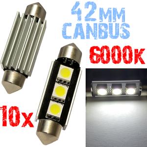 10 Ampoule Navette 42mm 6000k LED 5050 Blanc Plafonnier coffre 12V PLAQUE 2D12 2