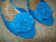 Nickels Blue Heels Flower Peep Toe Womens Shoes Slip on 2.5 inches Size 7
