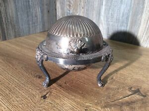 Antique-Rogers-Silverplate-Dome-Roll-Top-Caviar-Butter-Server-G3