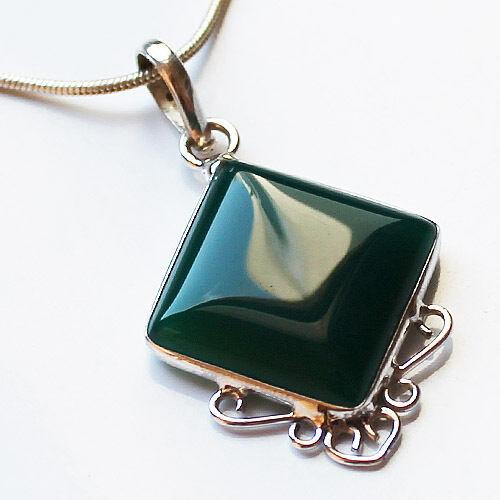 925 Sterling Silver Semi-Precious Natural Stone Pendant - Green Onyx