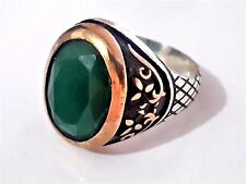 Turkish Ottoman Vintage Green Agate Stone 925 K Sterling Silver Mens Ring 14 gr