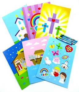 Details about Religious Coloring Books with Crayons Party Favors Set of 12