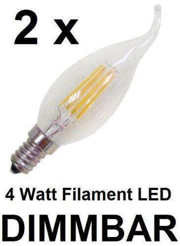 E14 DIMMBAR Warmweiß 2700K 2 x 4 Watt Filament Faden LED Kerze Windstoß