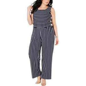 NY-Collection-Women-Petite-Plus-Striped-Side-Lace-Up-Jumpsuit-Size-1XP-MSRP-70