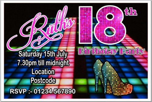 Envelopes Disco Club Party Invitations Invites Birthday PINK Girl Personalised